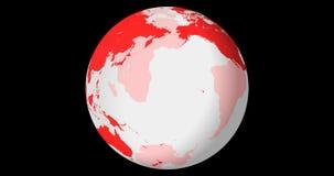 Globo transparente de giro, hemisfério Norte, dando laços, com canal alfa, em 4k filme