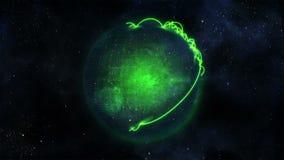 Globo verde animado do planeta com conexões video estoque