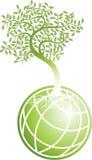 Globo verde con el árbol stock de ilustración
