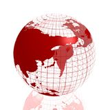 Globo vermelho de Ásia 3d Imagens de Stock