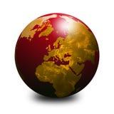 Globo vermelho do mundo Fotografia de Stock