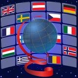 Globo y banderas de algunos países europeos ilustración del vector