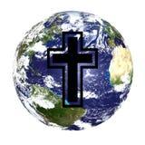 Globo y cruz del mundo Foto de archivo libre de regalías