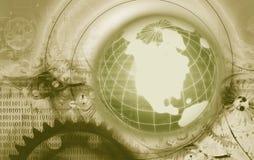 Globo y engranajes de la tierra Imagen de archivo libre de regalías