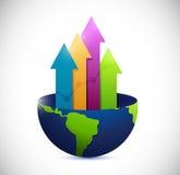 Globo y gráfico de la flecha del negocio. ejemplo Imágenes de archivo libres de regalías