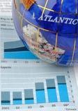 Globo y gráfico de la economía Fotos de archivo
