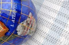 Globo y hoja de datos Imágenes de archivo libres de regalías