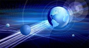 Globo y los rayos azules stock de ilustración
