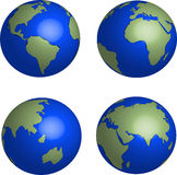 Globos azuis da terra ajustados no fundo branco Fotos de Stock Royalty Free