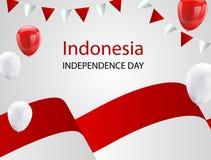 Globos blancos rojos, fondo del saludo de August Happy Independence Day del diseño de concepto del confeti Ejemplo del vector de  Foto de archivo libre de regalías