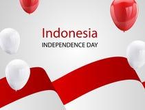 Globos blancos rojos, fondo del saludo de August Happy Independence Day del diseño de concepto del confeti Ejemplo del vector de  Foto de archivo