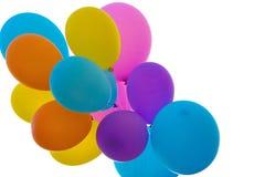 Globos coloreados aislados en blanco Imagenes de archivo