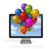 Globos coloreados multi en una pantalla de 3D TV Imagenes de archivo