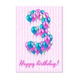 globos coloreados realistas en el tercer cumpleaños rosa, plata, azul Tarjeta de felicitación rosada de la raya con las estrellas stock de ilustración