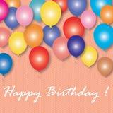 Globos coloridos con el feliz cumpleaños de las palabras Tarjeta de felicitación del vector Imagen de archivo libre de regalías