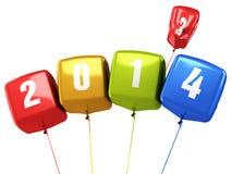Globos coloridos del cubo del Año Nuevo 2014 Imagen de archivo