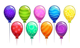 Globos coloridos del vector de la historieta fijados Imagen de archivo libre de regalías