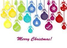 Globos coloridos do Natal no fundo branco Imagem de Stock Royalty Free