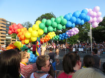 Globos coloridos en el desfile fotografía de archivo