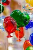 Globos coloridos hechos del vidrio veneciano de Murano Imagenes de archivo