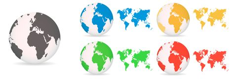 Globos com diferente dos mapas do mundo coloridos em um fundo branco ilustração do vetor