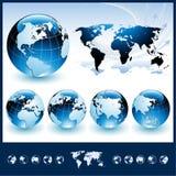 Globos com mapa de mundo Fotos de Stock