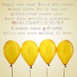 Globos con el número 2016 y la Feliz Año Nuevo del texto en diverso l Imagen de archivo libre de regalías