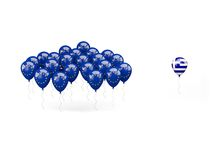 Globos con la bandera de la UE y de Grecia Imágenes de archivo libres de regalías