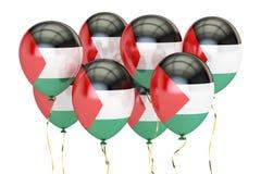 Globos con la bandera de Palestina, concepto holyday representación 3d Foto de archivo