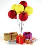 Globos con los presentes Imagen de archivo libre de regalías