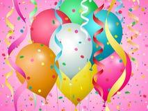 Globos, confeti y flámulas de diversos colores libre illustration