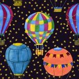 Globos contra el cielo estrellado ilustración del vector