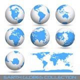 Globos da terra, branco-azuis Imagens de Stock Royalty Free