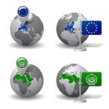 Globos de Gray Earth con la designación de los países de la unión europea y de la liga árabe Fotos de archivo