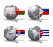 Globos de Gray Earth con la designación de Omán, Filipinas, Serbia Foto de archivo