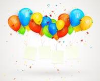 Globos de la cartelera del día de fiesta. ejemplo del vector Imágenes de archivo libres de regalías