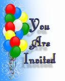 Globos de la invitación de la fiesta de cumpleaños   Fotografía de archivo