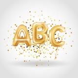 Globos de la letra del oro de ABC Imágenes de archivo libres de regalías