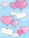 Globos de la tarjeta del día de San Valentín Fotos de archivo