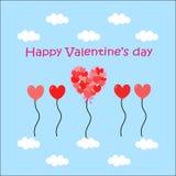 Globos de la tarjeta del día de San Valentín Imagenes de archivo