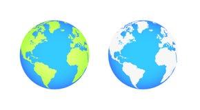 Globos de la tierra aislados en el fondo blanco Icono plano de la tierra del planeta Ilustración del vector Imagenes de archivo
