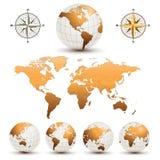Globos de la tierra con la correspondencia de mundo ilustración del vector