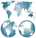 Globos de la tierra sobre continentes. Fotografía de archivo libre de regalías