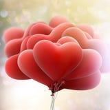Globos de los corazones en fondo del bokeh EPS 10 Imagen de archivo