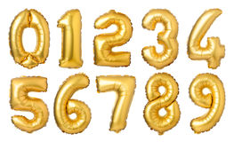 globos de oro de los números Imágenes de archivo libres de regalías