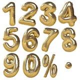 Globos de oro de números y de símbolos del porcentaje