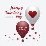 Globos 2017 del aire caliente del corazón del día de tarjetas del día de San Valentín aislados en el CCB blanco ilustración del vector
