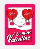 Globos del amor El papel de la tarjeta del día del ` s de la tarjeta del día de San Valentín cortó con el fondo del corazón Ilust Fotos de archivo