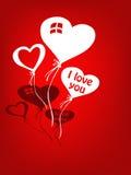 Globos del amor para la tarjeta del día de San Valentín Imagenes de archivo