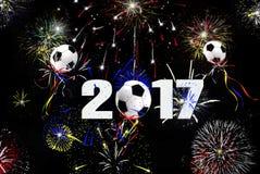 Globos 2017 del balón de fútbol del Año Nuevo Fotografía de archivo